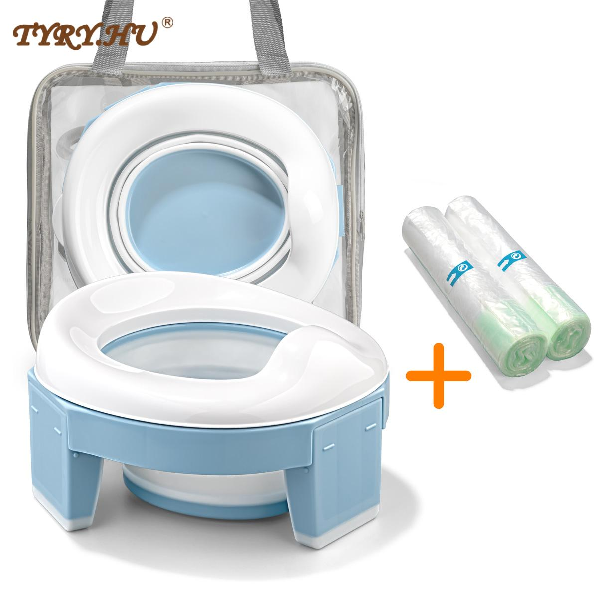 TYRY.HU Baby Pot Portable Silicone Baby Potty Training Seat 3 in 1 Travel Toilet Seat Foldable Blue Pink Children Potty With Bag