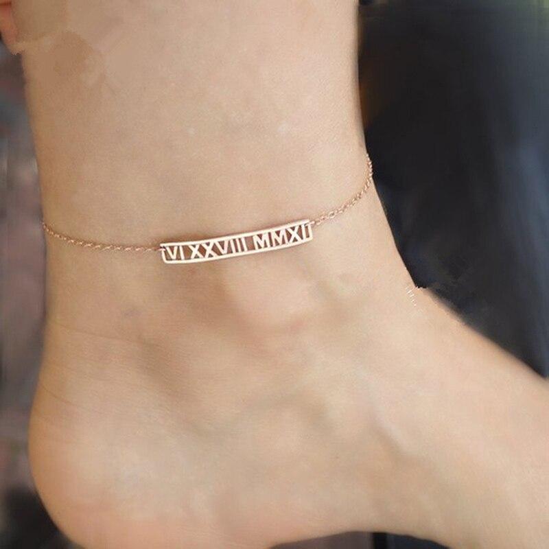 شخصية الأرقام الرومانية خلخال مخصص اسم تاريخ بار خلخال حلية الساق سوار زهرة من الستانليس ستيل الذهب والمجوهرات هدية