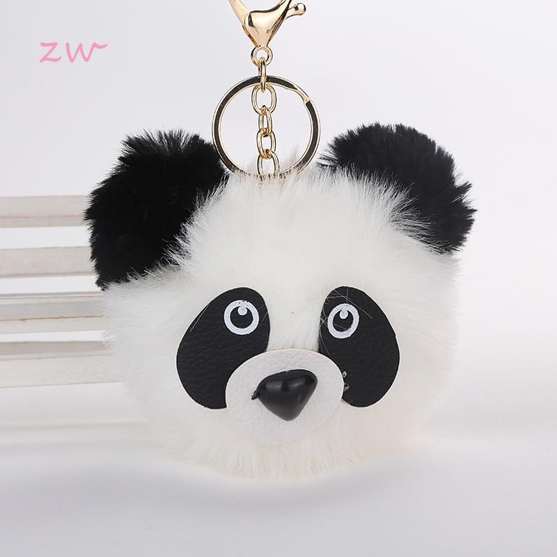 De moda suave de piel de conejo bola Panda llavero llaveros mujeres encantos del bolso Pom oso gato de oro plata llave anillo cadena joyas baratija