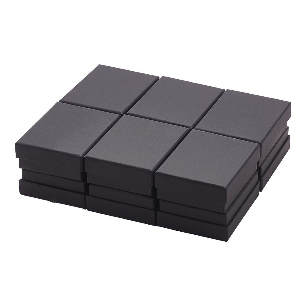 pandahall 24pcs Cardboard Jewelry Set Box for Ring Necklace Rectangle Tan Black Kraft Cotton Filled Cardboard Paper 8x5x3cm