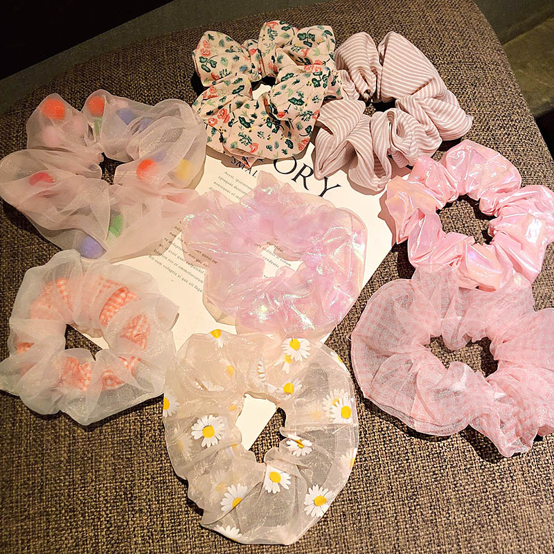 All Pink Series Scrunchie Set Women Girls Sweet Bright Print Elastic Hair Rubber Bands Ponytail Holder Fashion Hair Accessories