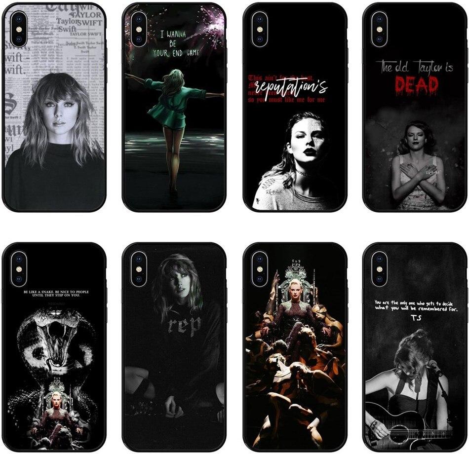 Para iPhone X 10 cantante de pop Taylor suave TPU funda de teléfono para iPhone 6 iPhone 6 6S 7 8 Plus 7 8 XS MAX XR negro de silicona caso