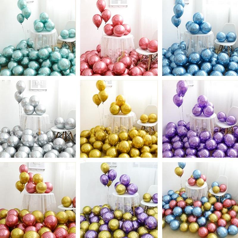 50 Uds 10 pulgadas metálico cromo oro silve globos bolas de Metal boda cumpleaños fiesta San Valentín gas helio decoración balazos