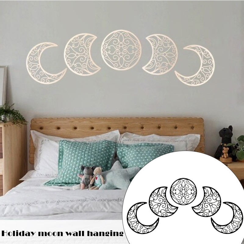 AliExpress - 5pcs Moon Phase Wall Hanging Decoration Wooden Bedroom Wood Wall Decor Above Bed DIY Headboard Ideas Bedroom Stickers Home Decor