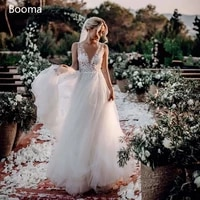 ivory illusion beach wedding dresses deep v neck backless long bride dresses lace appliques a line tulle bridal gowns