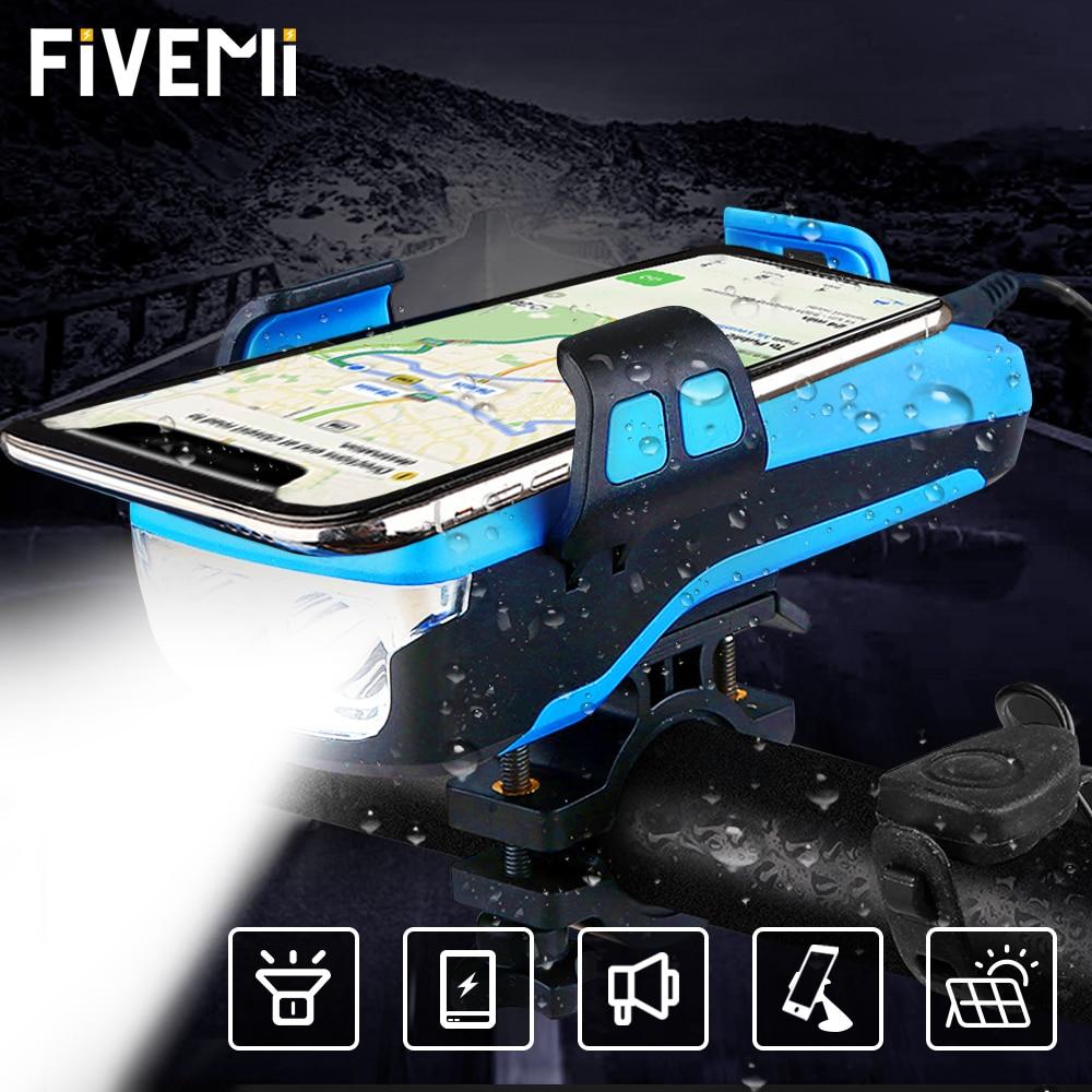 FIVEMI 5 في 1 Led إضاءة دراجة هوائية الجبهة USB قابلة للشحن الشمسية القرن حامل هاتف دراجة مصباح يدوي ل الدراجة ضوء فانوس