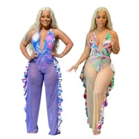 backless bodycon bodysuit ruffles see through mesh wide leg pants palazzo cartoon printed two piece set sexy beach style summer