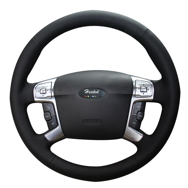 Cobertura de volante do carro aquecido para ford mondeo mk4 2007-2012 s-max 2 estilo do carro microfibra trança de couro no volante