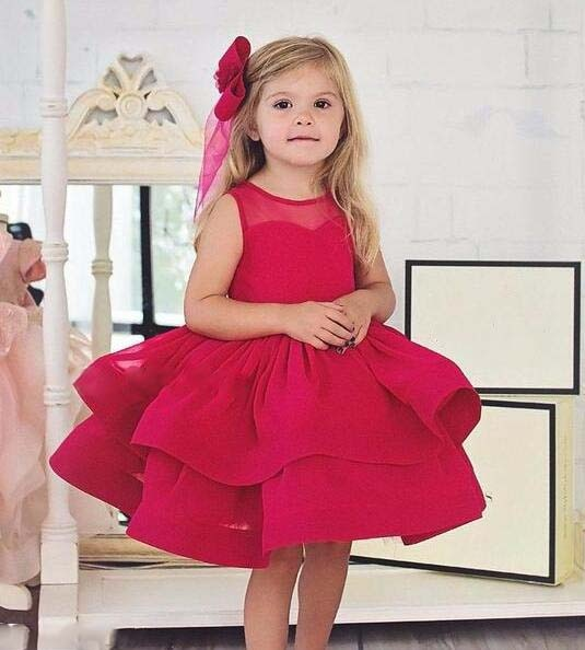 New Fuchsia kids beautiful pageant party dresses ball gown toddler girl baby tulle dress birthday gown with headpiece