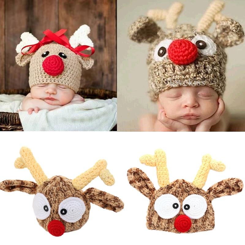 Christmas Baby Hat Adorable Reindeer Hand Crochet Beanie Newborn Boy Girl Knitting Hats Photo Props Knitted Bonnet Xmas Santa