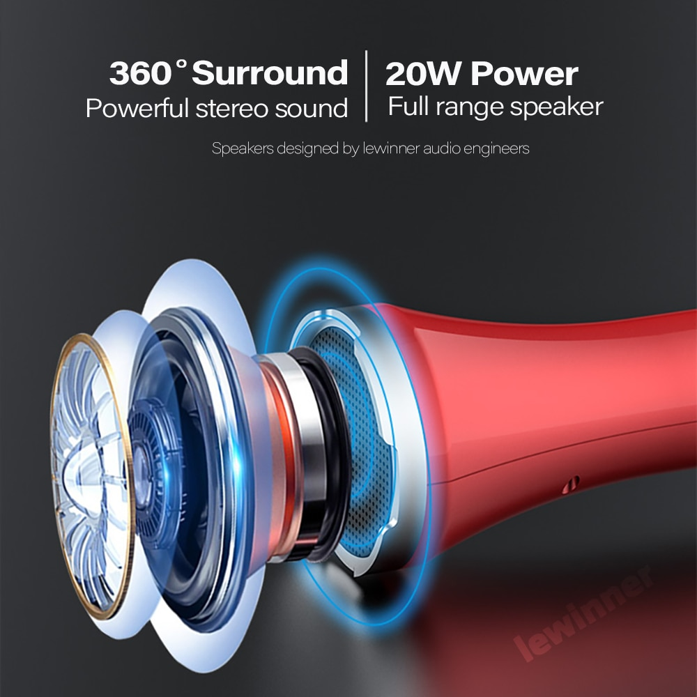 Lewinner L699 Professional 20W mic Portable Wireless Bluetooth Karaoke Microphone Speaker Home KTV Dynamic Microphone studio enlarge