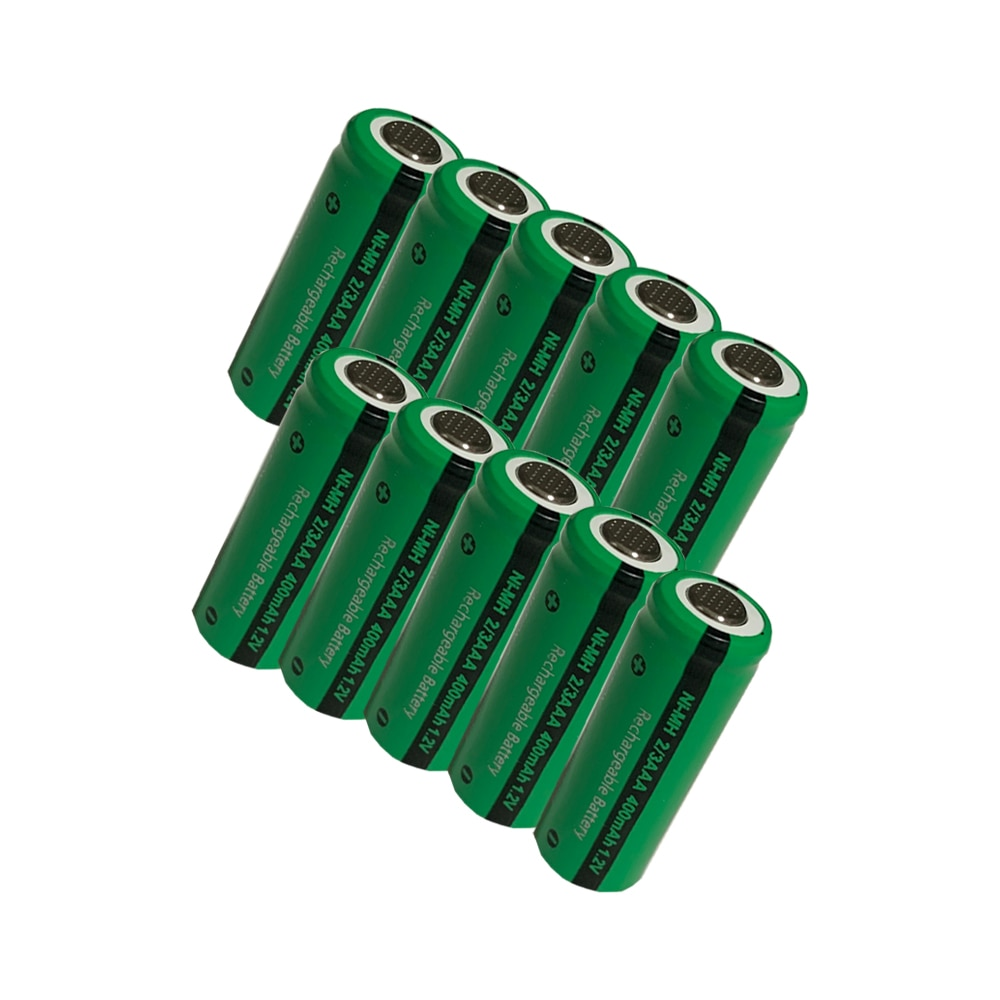 10pcs 2/3 aaa  battery 400mah 1.2v nimh 2 3 rechargeable batteries flat top for solar light toys