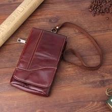 Bolso pequeño de cuero genuino de 6,3 pulgadas para hombre, funda de teléfono móvil para iPhone/Samsung/Huawei/Xiaomi/Nokia, con correa para el cuello, Universal