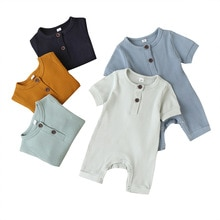 Baby Summer Clothing Infant Boy Ribbed Solid Romper Short Sleeve Jumpsuit Girl Knitted Stylish Cotto