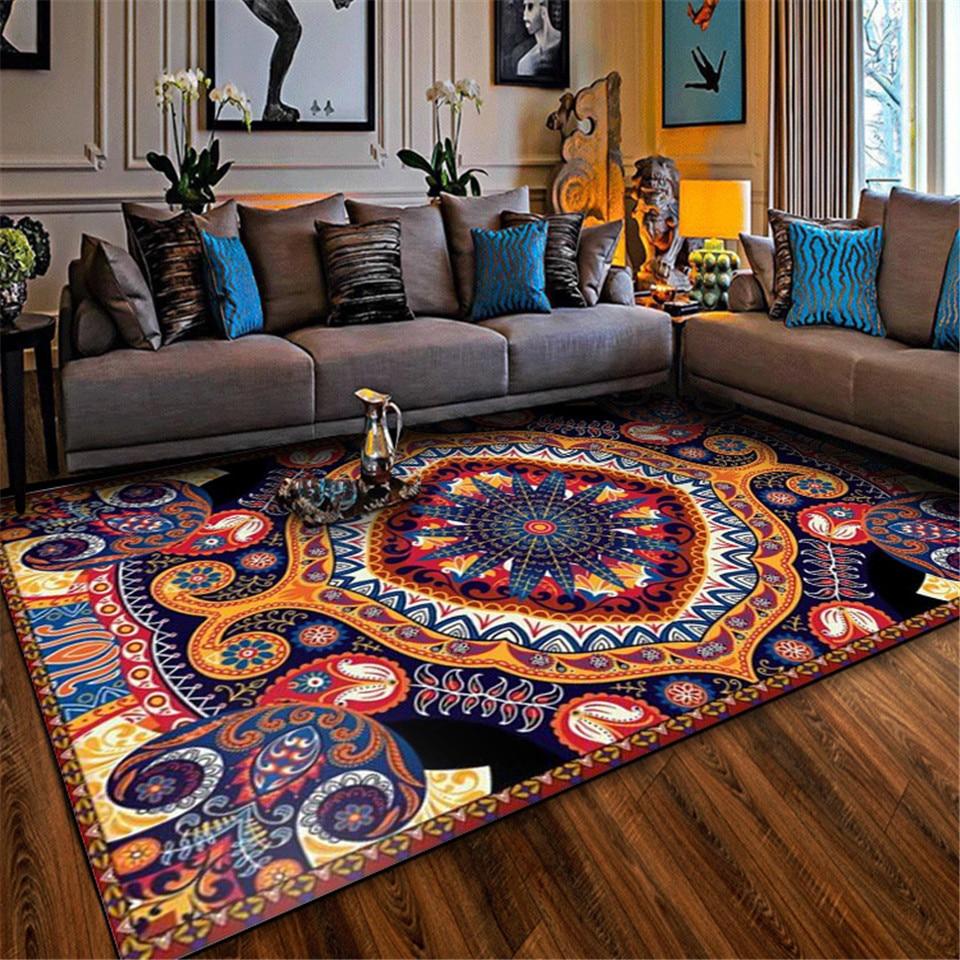 Wishstar-سجادة عتيقة الطراز العرقي لغرفة المعيشة ، بوهيمية ملونة ، سجادة أرضية لغرفة النوم والشرفة