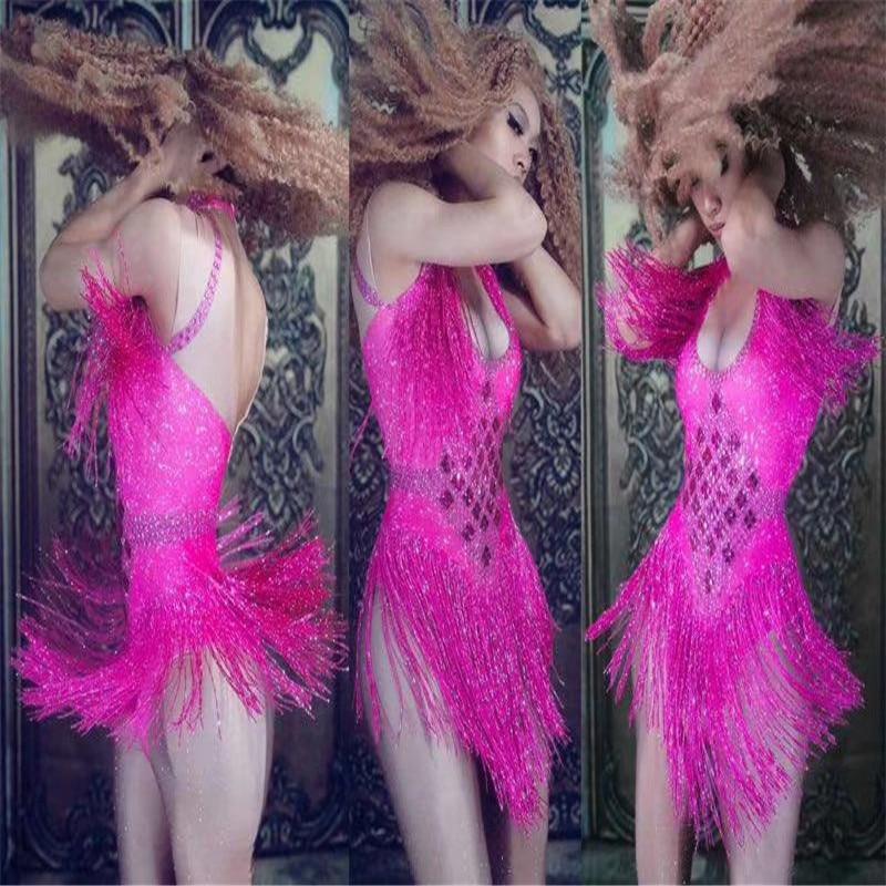 Sexy Sparkly Rhinestones Tassel Nightclub Dance Costumes DJ DS Show Stage Wear Bodysuit Party Female Singer Outfit