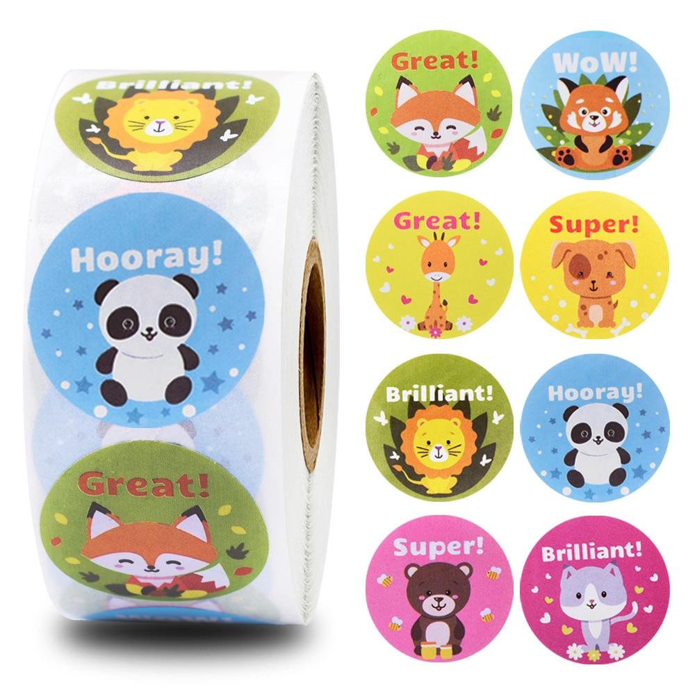 500pcs Cute Animals Stickers Reward Stickers Roll For Kids Motivational Sticker With Encouragement Sticker For Students Teachers Stickers Aliexpress