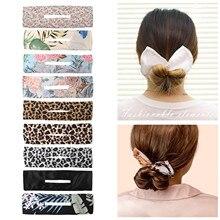 Women Deft Bun Classy Multicolor Cloth Hairstyle  Summer Knotted Clip hair bands Hair Braiding Kids