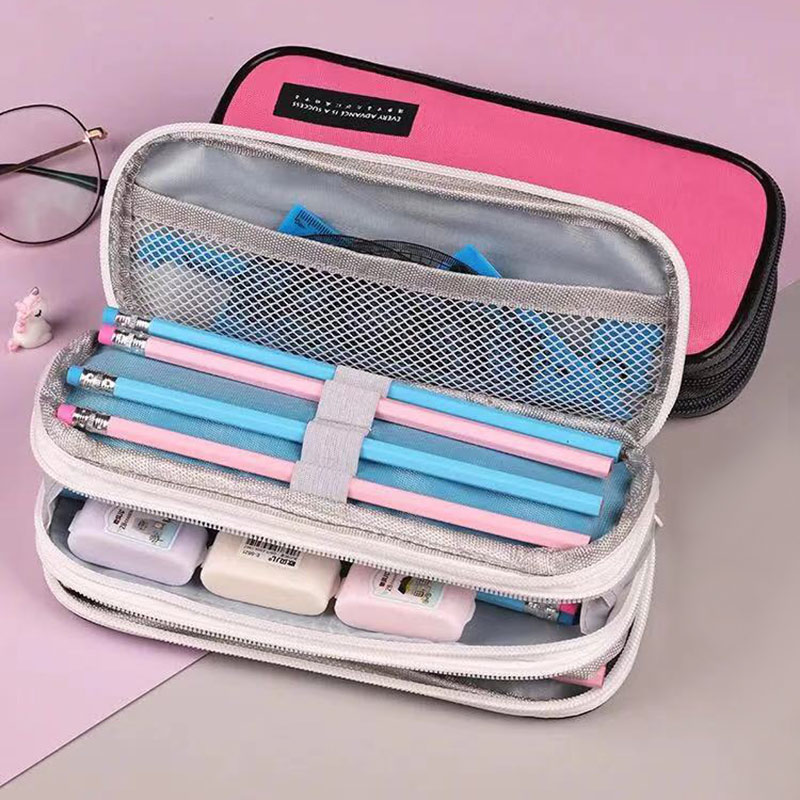 3 Layer Large Capacity Pencil Case Waterproof Zipper Student Pen Box Make Up Pouch Cosmetic Storage Bag Travel Organizer creative realistic fish shape kawaii pen bag make up pouch pen pencil case with zipper pencil pouch school supplies stationery