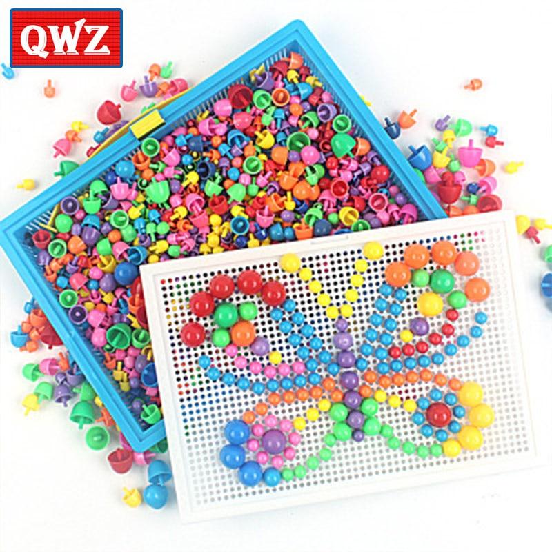 296/592 pièces enfants Composite jouets intellectuels éducatifs champignon ongles Kit jouets pour enfants cadeaux bricolage mosaïque image Puzzle jouets