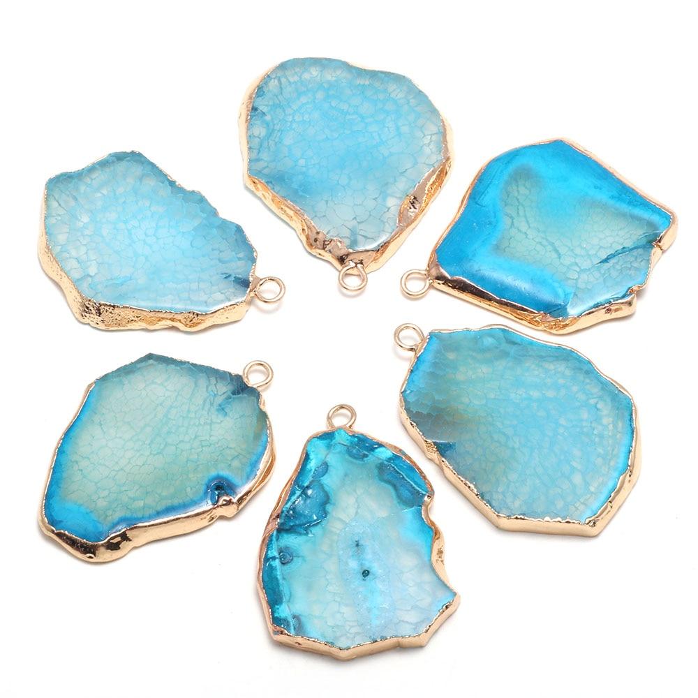 Natural azul agats pingente irregular encantos ágata natural pingente para fazer jóias pulseira colar tamanho 30x40-35x45mm