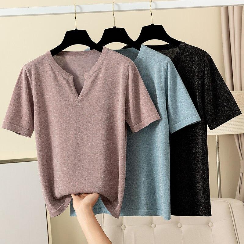 GIGOGOU, camiseta elegante de mujer con cuello en V, camiseta veraniega de manga corta con brillo Harajuku Chic, camiseta informal de moda para mujer, camiseta