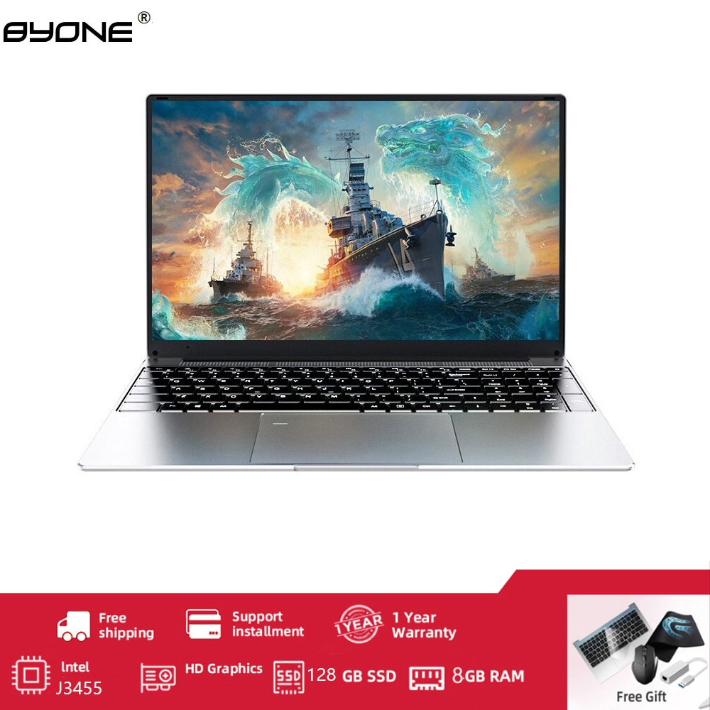 Get BYONE 15.6 Inch Laptop Intel Celeron J3455,1920*1080 IPS , 8GB RAM 512G SSD  Portable Laptop HD Learning Computer Laptop