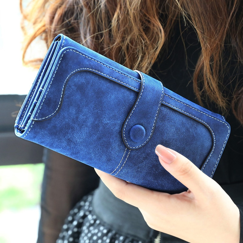 Vintage frosted Faux Suede Long Wallet Women Matte Leather Lady Purse High Quality Female Wallets Ca