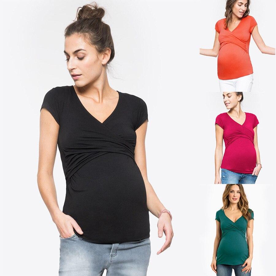 الصيف الأمومة التمريض تي شيرت الرضاعة الطبيعية الأم تي شيرت الملابس للنساء الحوامل الرضاعة الطبيعية تيز القمم