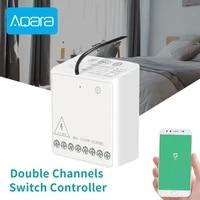 Aqara     Module de controle bidirectionnel sans fil  relais de securite a 2 canaux  controleur de commutateur pour HomeKit Xiaomi Mijia Smar Home