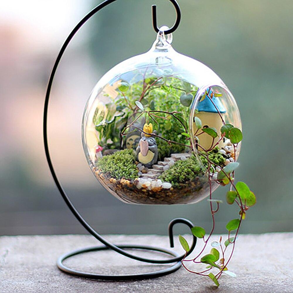 1 pieza de Metal de hierro creativo soporte para vela linterna decorativa para hogar soporte colgante candelabro cristal vela globo porta ornamento