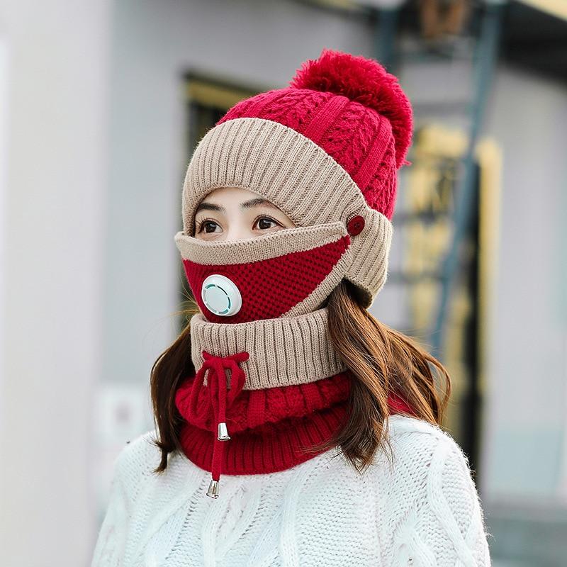 Шапка женская зимняя теплая шерстяная шапка теплая Милая женская шапка Комплект из трех предметов трикотажная шапка с защитой ушей