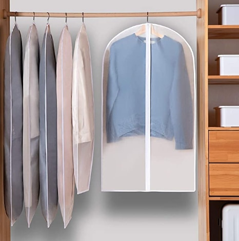 5PCS Clothing dust cover, household coat, waterproof suit, storage hanging pocket, coat cover