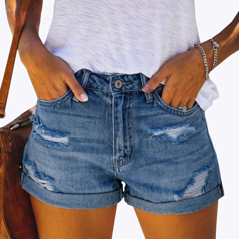 Sexy Skinny Curly Denim Shorts with Hole Tassel Women Shorts Summer Streetwear Pockets Mid Waist Blue Ripped Jean Shorts