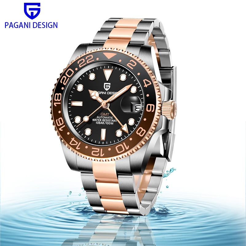 PAGANI DESIGN Mens Mechanical Watch GMT Stainless Steel 40MM Automatic 100M Waterproof Sapphire glass Clock Montre Homme