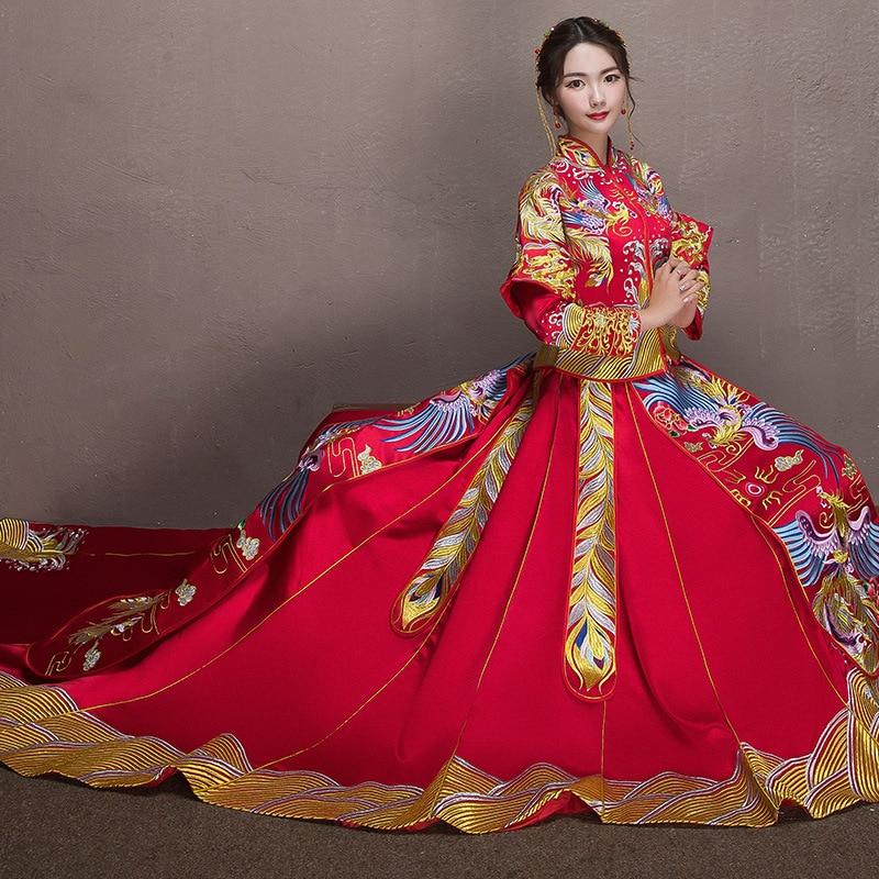 فستان زفاف صيني تقليدي مطرز عالي الجودة طويل شيونغسام أنيق أنيق عروس عتيق رائع للنساء من الساتان
