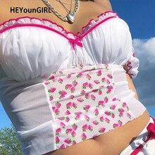 HEYounGIRL Y2K Sexy Milkmaid haut femmes Patchwork maille sans manches culture hauts t-shirts dames imprimé à volants dos nu Cami haut froncé