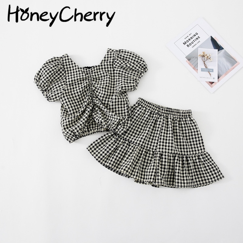 AliExpress - Girls plaid suit summer back bow top culottes set of two cloth baby girl outfit  baby girl clothes