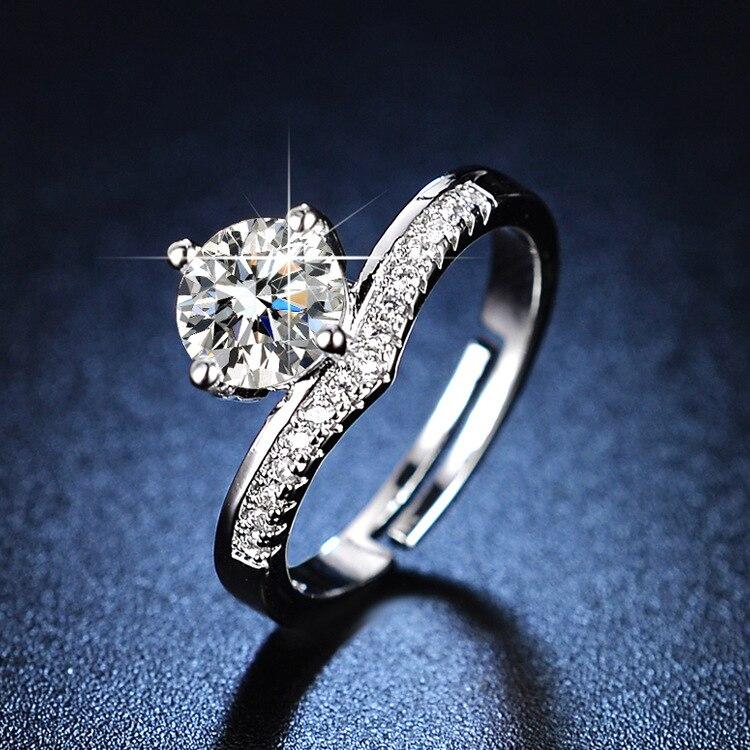 Sterling Silver Rings Diamond Ring Resizable Rings Wedding Ring Rings for Women Silver Ring