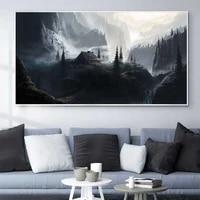 landscape oil painting cliff cottage secret place art canvas painting living room corridor office home decoration mural