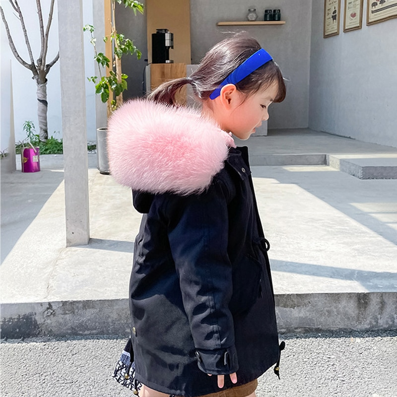winter thick warm baby girl jackets long real fur boy coat thick windproof children windbreaker padded teenage kids snow clothes enlarge