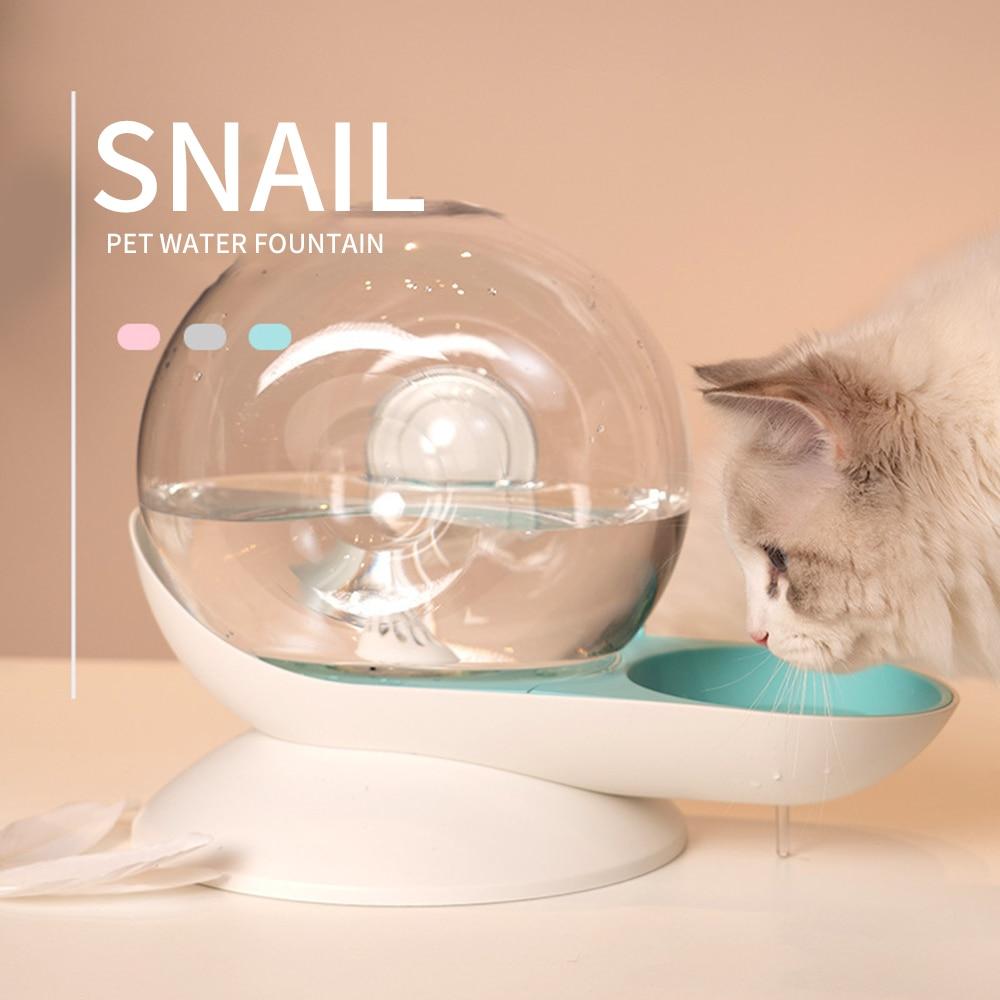 Автоматический диспенсер для воды в форме улитки, емкость 2,8 л, для собак и кошек