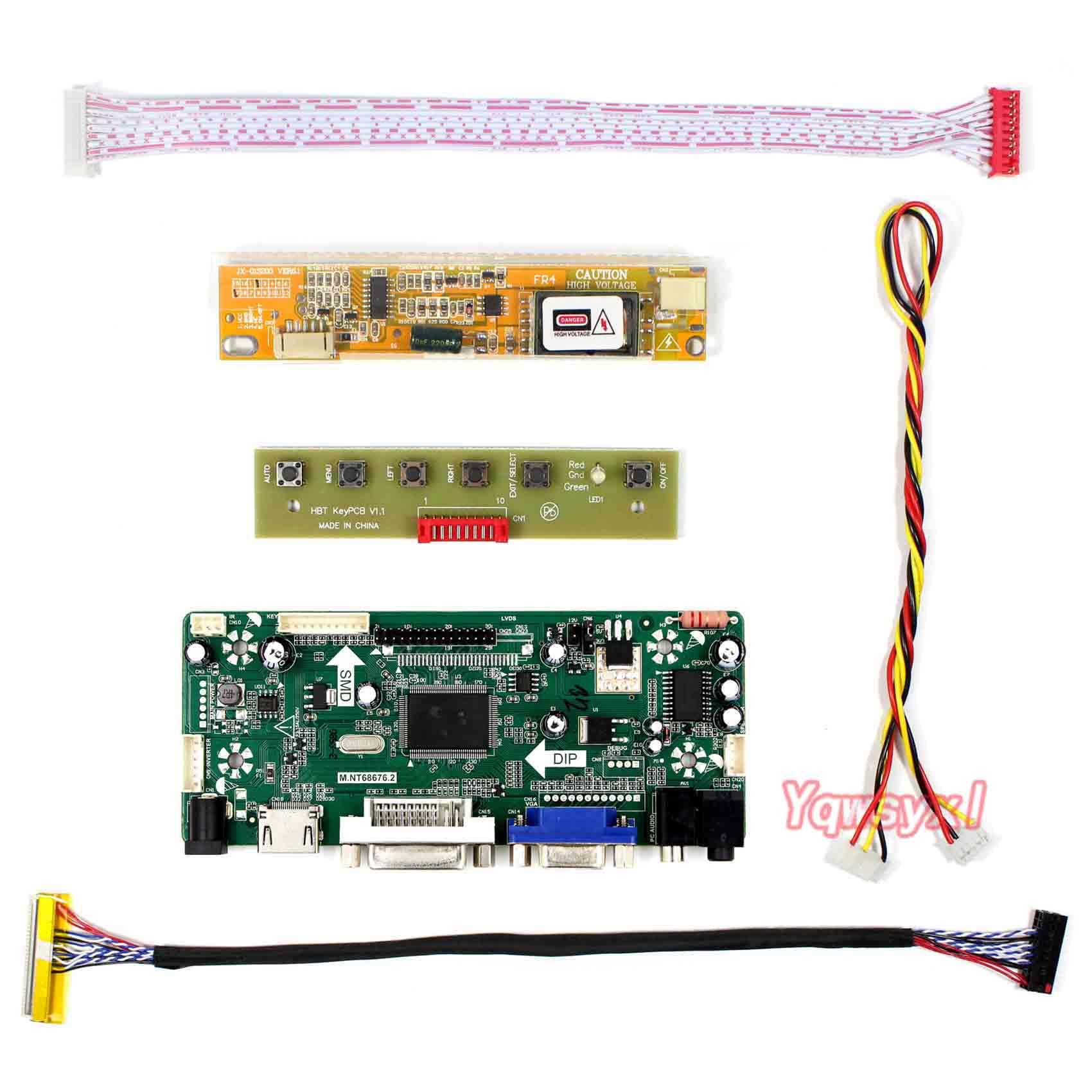 Yqwsyxl Control Monitor Kit para LP154WX4-TLC5 LP154WX4 (TL) (C5) + HDMI + DVI + VGA LCD pantalla LED Placa de controlador conductor