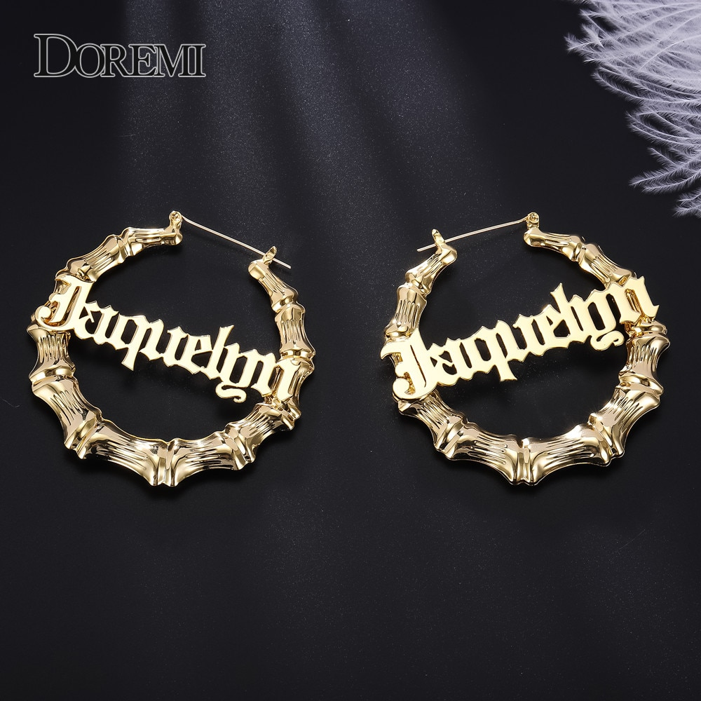 DOREMI Stainless Steel Bamboo Hoop Earrings Customize Name Earrings Bamboo Style Custom Hoop Earring