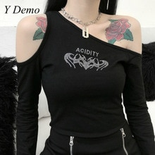 Harajuku Rock Women Asymmetrical Colllar T-shirt Long Sleeve Slim Female Sexy Diamonds Tee