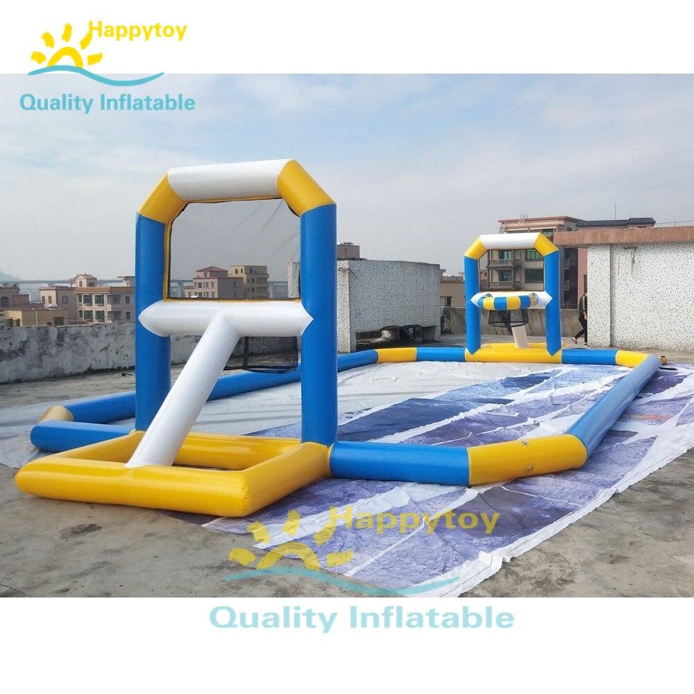 Juegos de agua flotante inflables de campo de baloncesto área de juego de Playa Mar de verano