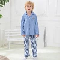 boys pajamas cotton long sleeved kids boy homewear spring and autumn cartoon plaid boy sleepwear 4 15y childrens pajamas set
