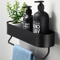 Etagere murale de salle de bain  panier de rangement de douche noir  organisateur de cuisine  accessoires de salle de bain