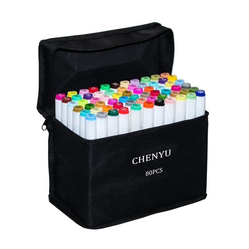 CHENYU 30/40/60/80 шт цветные маркеры манга маркеры для рисования ручка на спиртовой основе нетоксичный эскиз масляная двойная Кисть ручка товары д...