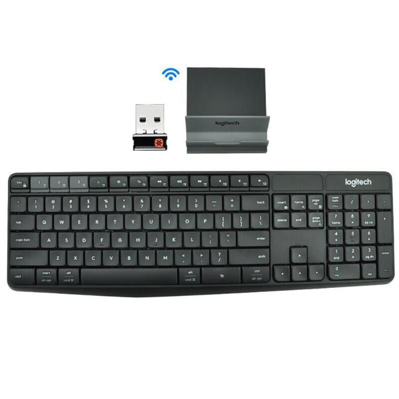 لوجيتك K375S لوحة مفاتيح الألعاب اللاسلكية 104 مفاتيح بلوتوث متوافق 2.4 جيجا هرتز USB لوحة مفاتيح متعددة الأجهزة مع حامل هاتف